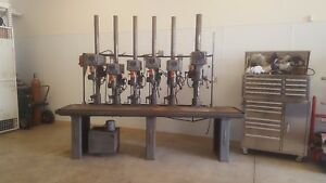 Clausing Drill Press 6 Head Gang Drill Usa Made 220 Volt 3 Ph In Production