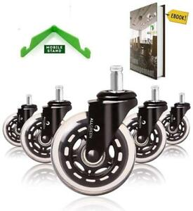 Set Of 5 Chair Wheels Heavy Duty Easy Installation Smooth Rolling