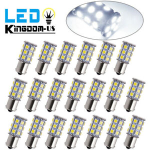20x Super White 1156 27 Smd Rv Camper Trailer Led Interior Light Bulbs 1141 12v