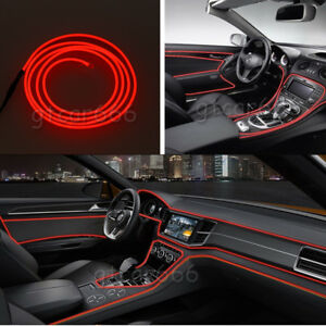 2m El Wire Car Interior Decoration Fluorescent Neon Strip Red Cold Light Line