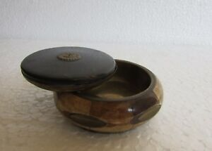 Vintage Collectible Brass Bone Horn Crafted Kumkum Powder Tikka Box