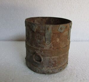 Indian Vintage Antique Hand Crafted Iron Grain Measurement Pot Collectible