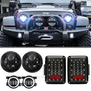 7 Round Led Headlight Assembly For Jeep Jk Tail Lights Front Bumper Fog Lights