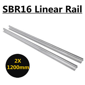 2pcs 16mm Sbr16 L1200mm Fully Supported Linear Rail Slide Shaft Rod Us Shipping
