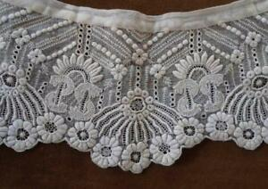 Antique Embroidered Whitework Lace Collar Broderie Cutwork Doll Dressing Trim