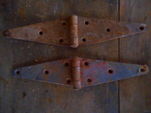 Salvaged For Restoration 2 Vintage Hinges Barn Gate Door Antique Hardware