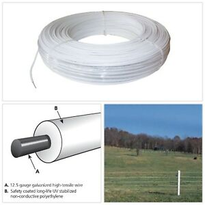 Gauge White Safety Coated High Tensile Horse Fence Wire Farm Cattle Livestock Us