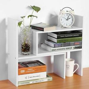 Desktop Bookcase Shelf Storage Organizer Office Furniture Space Saver Wood White