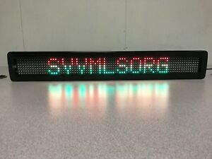 Tricolor Led Programmable Display Semi outdoor Sign Wireless Remote 26 x4 New