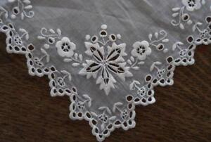 Vintage Organdy Plate Doily Whitework Broderie Embroidery Cutwork Square 8
