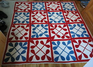 1870 Antique Victorian Red White Blue Hand Made Applique Patriotic 75 Sq Quilt