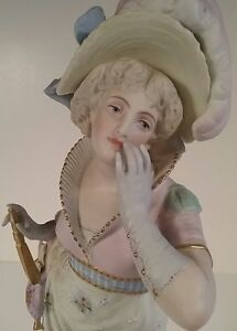Vion Baury Antique French Marked Bisque Porcelain Figurine Statue Woman W Fan