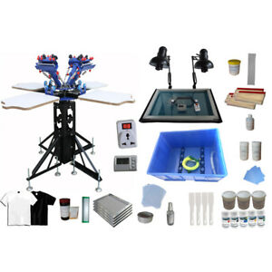 4 Color Silk Screen Printing Kit Rotary Shirt Press Printer With Exposure Unit