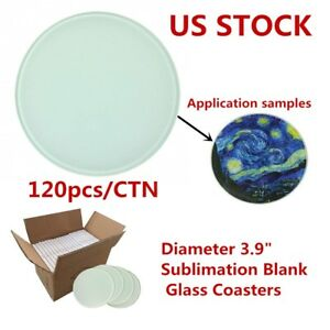 Usa 120pcs Diameter 3 9 Round Sublimation Blank Glass Coaster For Heat Press