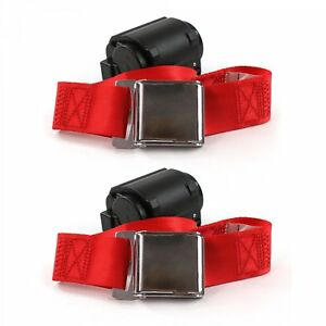 Ford Fairlane 1970 Airplane 2pt Red Retractable Bucket Seat Belt Kit 2 Belts