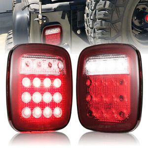 2pc Led Tail Lights Brake Reverse Turn Signal For Rv Vans Truck Trailer Jeep Suv