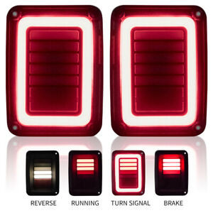Tail Lights Turn Signal For 07 17 Jeep Wrangler Jk Pair Rear Smoke Reverse Brake