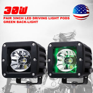 3inch 30w Led Pods Cree Driving Lights W Green Back Light Offroad 4wd Jeep Pair