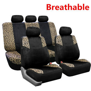 5 Seat Black Velour Split Bench Leopard Print Car Seat Covers Protector Cushion