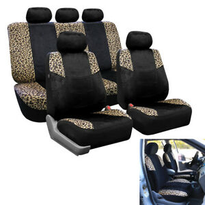 Universal Durable Polyester 5seat Leopard Print Car Seat Protector Cover Cushion
