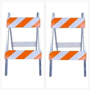 Wood Metal Eg Sheeting Type Barricade Traffic Control Safety Sign Stand Fold New
