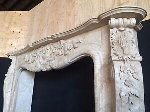 Travertine French Fireplace Mantel Large Large Hand Carved Stone Mantle