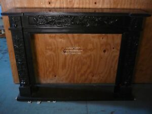 Black Marble Fireplace Mantel Hand Carved English Stone Mantle In Stock