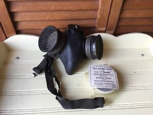 Vintage Msa Mine Saftey Gas Mask 207 Bm2301 10 Respirator Filters For Chemicals
