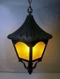 Vtg Porch Light Entry Hanging Lamp Ceiling Fixture Rustic Cabin Weathered Gothic