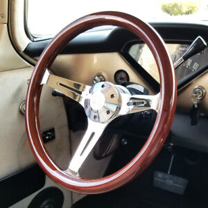 Chrome Slotted Steering Wheel Light Wood Grip 380mm 15 6 Hole Hubs