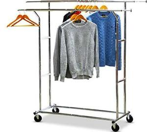 Simplehouseware Commercial Grade Double Rail Clothing Garment Rack With