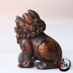 3 China Old Antique Hand Carved Beast Ox Horn Tip Statues Collection Ornament
