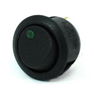 4pk Black Round Rocker Switch Green Led Spst On off 12vdc