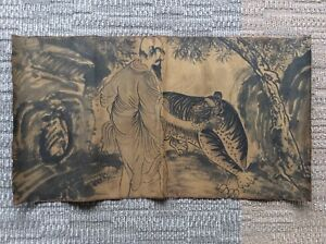 Korea Joseon Dynasty Hermit And Tiger Painting W 88 H 48 Cm