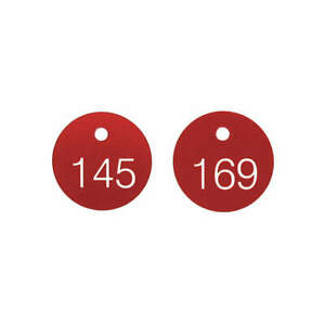 Accuform Plastic Numbered Tags 1 1 8 In round 1 100 pk100 Tdg300rd Red white