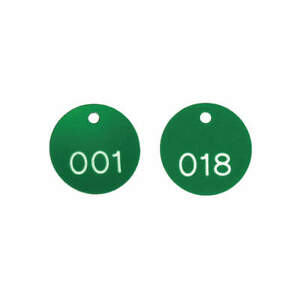 Accuform Plastic Numbered Tags 1 1 8in round 1 100 pk100 Tdg300gn Green white