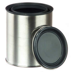 Qorpak Tin Plated Steel Metal Can 1 Qt round pk56 Met 03095 Silver