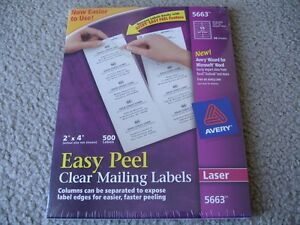 Brand New Avery 5663 Clear Mailing Labels 2 X 4 500 Box
