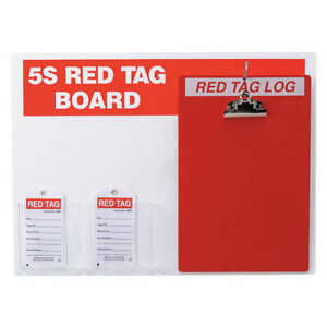 Brady Red Tag Station W clipboard small Tags 122056 Red white