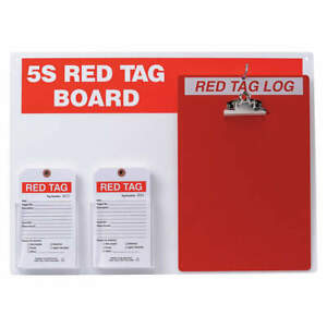 Brady Red Tag Station W clipboard large Tags 122057 Red white