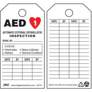 Zing Plastic Aed Tag 5 3 4 X 3 In bk And R wht pk10 7018