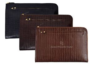 A4 Folder Crocodile Print Real Leather Conference Portfolio Document Wallet Case