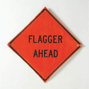 Usa sign Road Construction Sign 36 h 36 w mesh C 36 emo 3fh hd Flagger Ahead