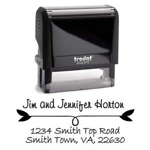 Black Ink Pretty Custom Self Inking Return Address Stamp Personalized With Use