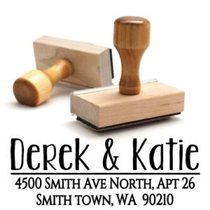 Wood Stamper Custom Personalized Wooden Handle Return Mail Address Stamp Gift