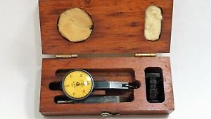 Brown And Sharpe Dial Indicator Jeweled With Wood Case Machinist Lathe
