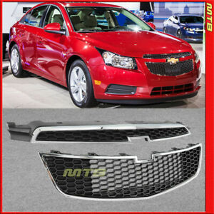 For 2011 2014 Chevy Cruze Sedan Front Upper Lower Grille Air Flow Black Chrome