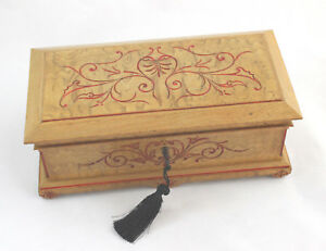 Antique French Country Decor Engraved Wood Jewelry Document Box