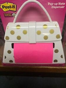 Post it Pop up Note Dispenser White Purse With Gold Dots
