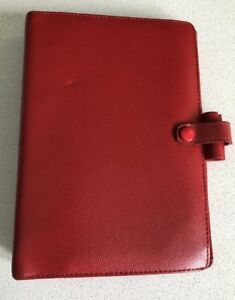 Filofax Personal Red Piccadilly Leather Organizer retired Rare